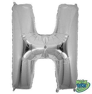 Balão Metalizado Letra - H - Prata - (14'' Aprox 36cm) - Rizzo Embalagens