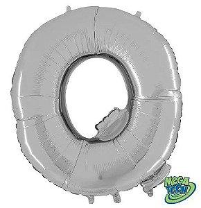Balão Metalizado Letra - Q - Prata - (14'' Aprox 36cm) - Rizzo Embalagens