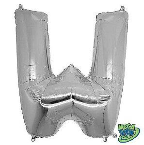 Balão Metalizado Letra - W - Prata - (14'' Aprox 36cm) - Rizzo Embalagens