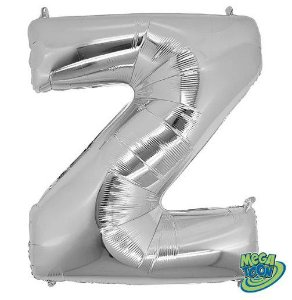 Balão Metalizado Letra - Z - Prata - (14'' Aprox 36cm) - Rizzo Embalagens
