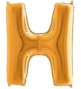 Balão Metalizado Letra - H - Ouro - (14'' Aprox 36cm) - Rizzo Embalagens