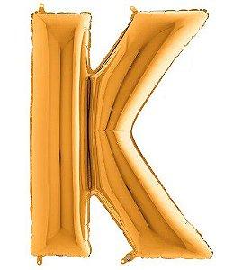 Balão Metalizado Letra - K - Ouro - (14'' Aprox 36cm) - Rizzo Embalagens