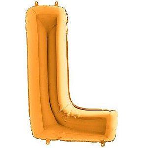 Balão Metalizado Letra - L - Ouro - (14'' Aprox 36cm) - Rizzo Embalagens