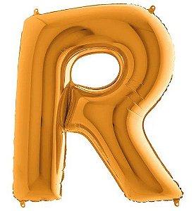 Balão Metalizado Letra - R - Ouro - (14'' Aprox 36cm) - Rizzo Embalagens