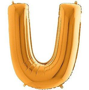 Balão Metalizado Letra - U - Ouro - (14'' Aprox 36cm) - Rizzo Embalagens