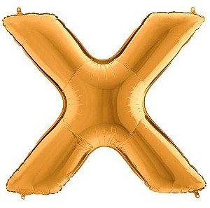 Balão Metalizado Letra - X - Ouro - (14'' Aprox 36cm) - Rizzo Embalagens