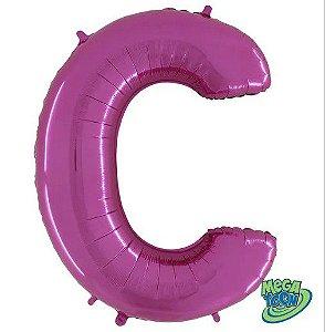 Balão Metalizado Letra - C - Rosa - (14'' Aprox 36cm) - Rizzo Embalagens