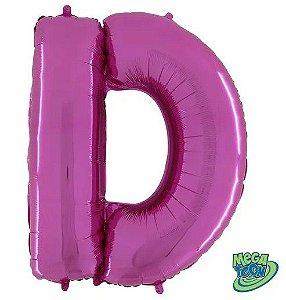 Balão Metalizado Letra - D - Rosa - (14'' Aprox 36cm) - Rizzo Embalagens