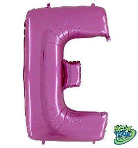 Balão Metalizado Letra - E - Rosa - (14'' Aprox 36cm) - Rizzo Embalagens