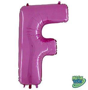 Balão Metalizado Letra - F - Rosa - (14'' Aprox 36cm) - Rizzo Embalagens