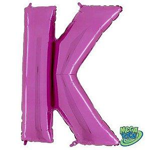 Balão Metalizado Letra - K - Rosa - (14'' Aprox 36cm) - Rizzo Embalagens