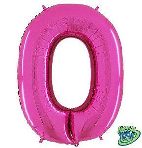 Balão Metalizado Letra - O - Rosa - (14'' Aprox 36cm) - Rizzo Embalagens