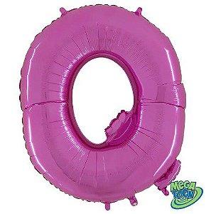 Balão Metalizado Letra - Q - Rosa - (14'' Aprox 36cm) - Rizzo Embalagens