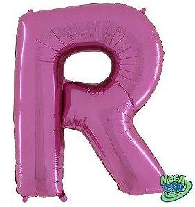 Balão Metalizado Letra - R - Rosa - (14'' Aprox 36cm) - Rizzo Embalagens