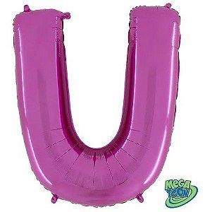 Balão Metalizado Letra - U - Rosa - (14'' Aprox 36cm) - Rizzo Embalagens