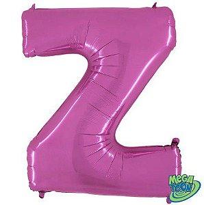 Balão Metalizado Letra - Z - Rosa - (14'' Aprox 36cm) - Rizzo Embalagens