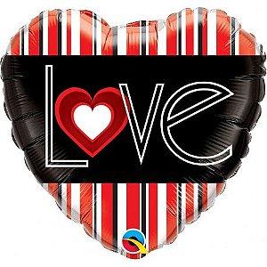 Balão Metalizado Coração Love Listras - 18'' - 46cm - Qualatex - Rizzo festas