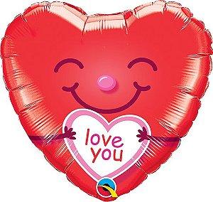 Balão Metalizado Coração Love You Sorriso - 18'' - 46cm - Qualatex - Rizzo festas