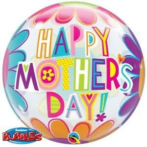 Balão Bubble Transparente Happy Mothers Day - 22'' 56cm - Qualatex - Rizzo festas