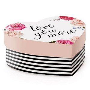 Caixa Rígida Coração Love You More Coleção Kate - 25,5x21x8cm - Cromus - Rizzo Embalagens