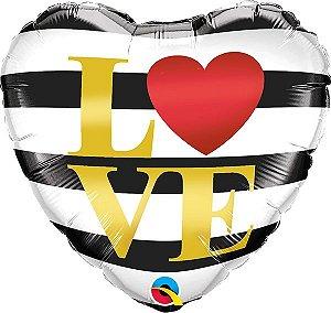 Balão Metalizado Coração Love Listras Pretas - 18'' - 46cm - Qualatex - Rizzo festas