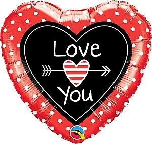Balão Metalizado Coração Love e Flecha - 18'' - 46cm - Qualatex - Rizzo festas