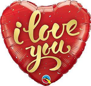 Balão Metalizado Coração I Love You - 18'' - 46cm - Qualatex - Rizzo festas