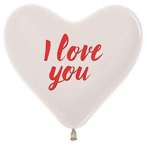 Balão de Festa Coração Cristal I Love You 12'' 28cm - 60 unidades - Sempertex - Cromus - Rizzo Festas