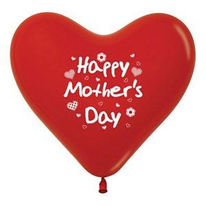 Balão de Festa Coração Feliz Dia das Mães 12'' 28cm - 12 unidades - Sempertex - Cromus - Rizzo Festas