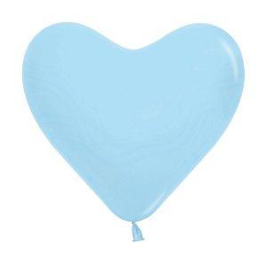 Balão de Festa Coração Azul Liso 6'' 15cm - 12 unidades - Sempertex - Cromus - Rizzo Festas