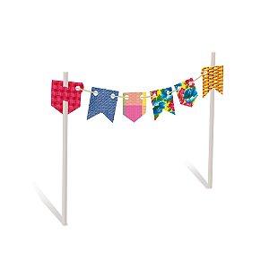 Kit Topo de Bolo Arraiá Colorido Festa Junina - 02 unidades - Cromus - Rizzo Festas
