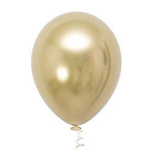 Balão de Festa Metálico 9'' 23cm - Dourado - 25 unidades - São Roque - Rizzo Festas