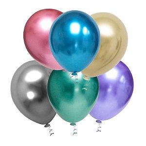 Balão de Festa Metálico 9'' 23cm - Sortido - 25 unidades - São Roque - Rizzo Festas