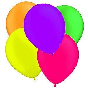Balão de Festa Neon 9'' 23cm - Sortido - 25 unidades - São Roque - Rizzo Festas