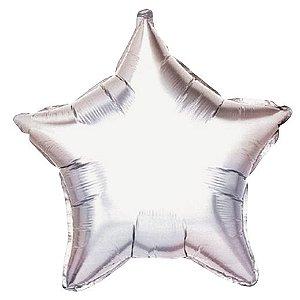 Balão Metalizado Estrela Prata 5 unidades 18'' 5 unidades - Sempertex Cromus - Rizzo Festas