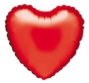 Balão Metalizado Coração Vermelho 5 unidades 18'' - Sempertex Cromus - Rizzo Festas