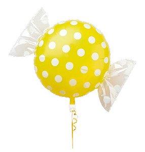 Balão Metalizado Candy Poá Amarelo 18'' 5 unidades - Sempertex Cromus - Rizzo Festas