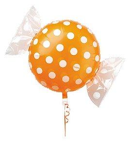 Balão Metalizado Candy Poá Laranja 18'' 5 unidades - Sempertex Cromus - Rizzo Festas