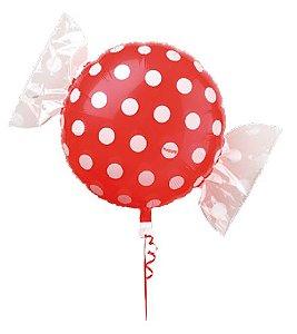 Balão Metalizado Candy Poá Vermelho 18'' 5 unidades - Sempertex Cromus - Rizzo Festas