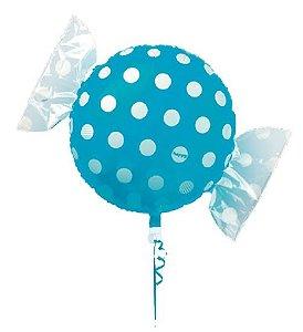 Balão Metalizado Candy Poá Azul 18'' 5 unidades - Sempertex Cromus - Rizzo Festas
