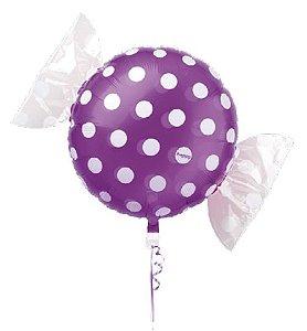 Balão Metalizado Candy Poá Roxo 18'' 5 unidades - Sempertex Cromus - Rizzo Festas