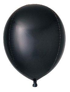 Balão Metalizado Gota Preto 15'' - Sempertex Cromus - Rizzo Festas