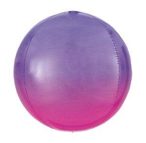 Balão Bubble Degradê Violeta 18'' 5 unidades - Sempertex Cromus - Rizzo Festas