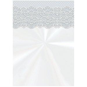 Saco Decorado Renda Branco - 10cm x 14cm - 50 unidades - Cromus - Rizzo Embalagens