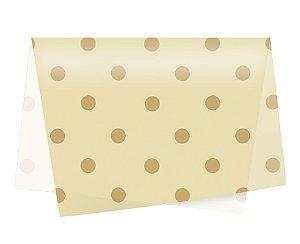 Papel de Seda - 49x69cm - Big Poá Ouro e Marfim - 10 folhas - Rizzo Embalagens