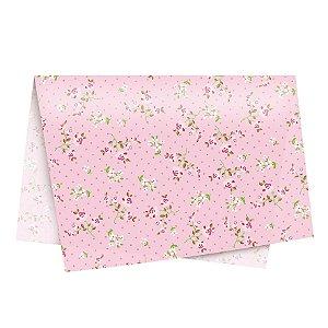 Papel de Seda - 49x69cm - Secret Garden Rosa - 10 folhas - Rizzo Embalagens