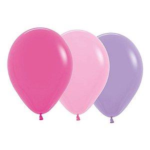 Balão de Festa Latex R12'' 30cm - Sortido Menina - 50 unidades - Sempertex Cromus - Rizzo Festas