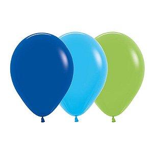 Balão de Festa Latex R12'' 30cm - Sortido Menino - 50 unidades - Sempertex Cromus - Rizzo Festas