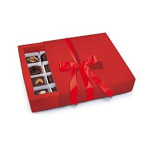 Caixa Luva 16 Bombons Vermelha 16,5 x 16 x 4cm - Cromus - Rizzo Embalagens
