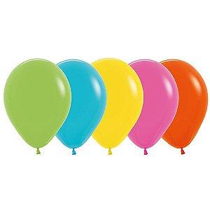 Balão de Festa Latex R12'' 30cm - Sortido Tropical - 50 unidades - Sempertex Cromus - Rizzo Festas